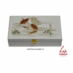 JEWELRYBOX1424 IVORY WITH 2 FISHES
